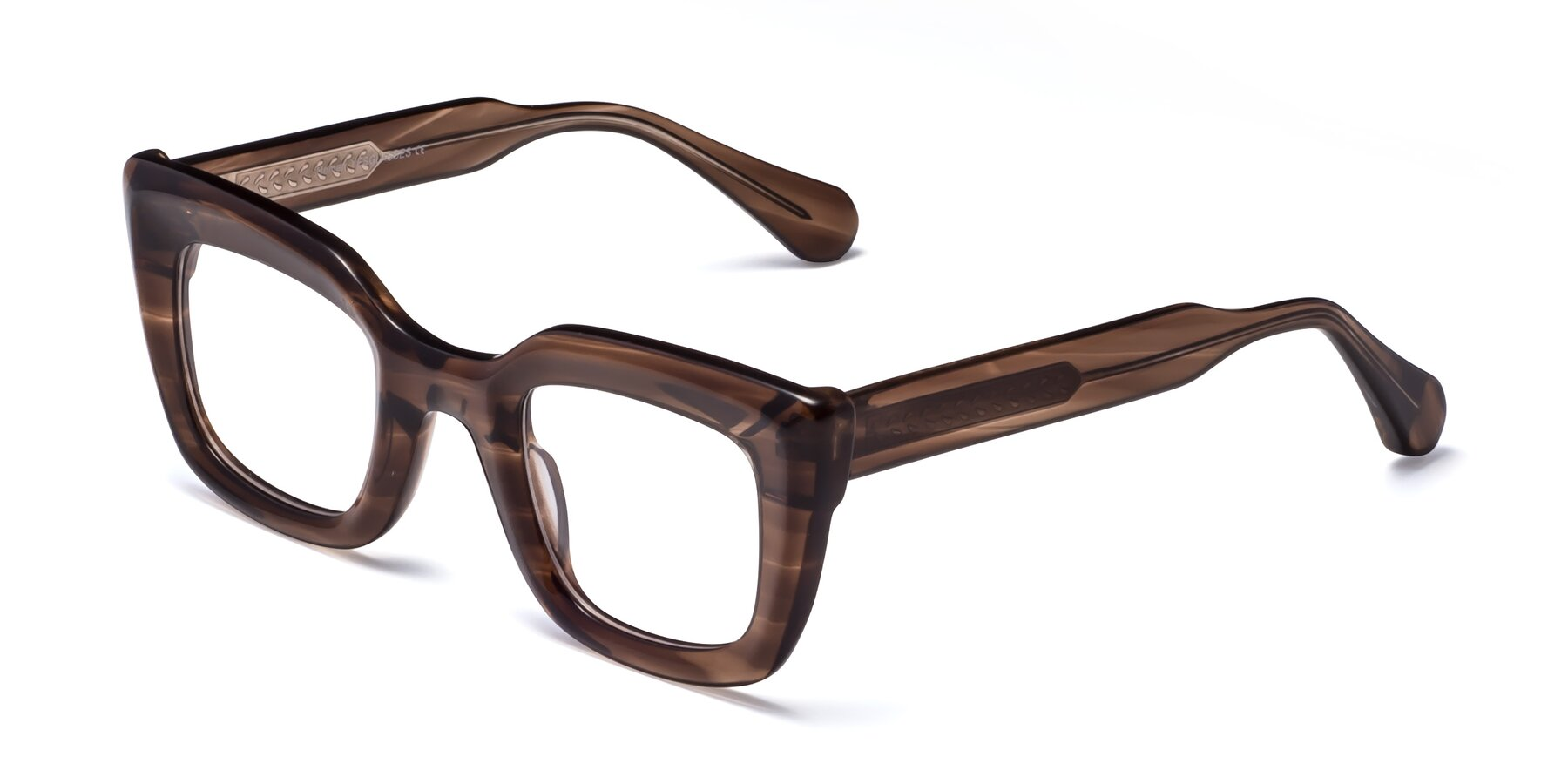 Angle of Homan in Chocolate with Clear Blue Light Blocking Lenses