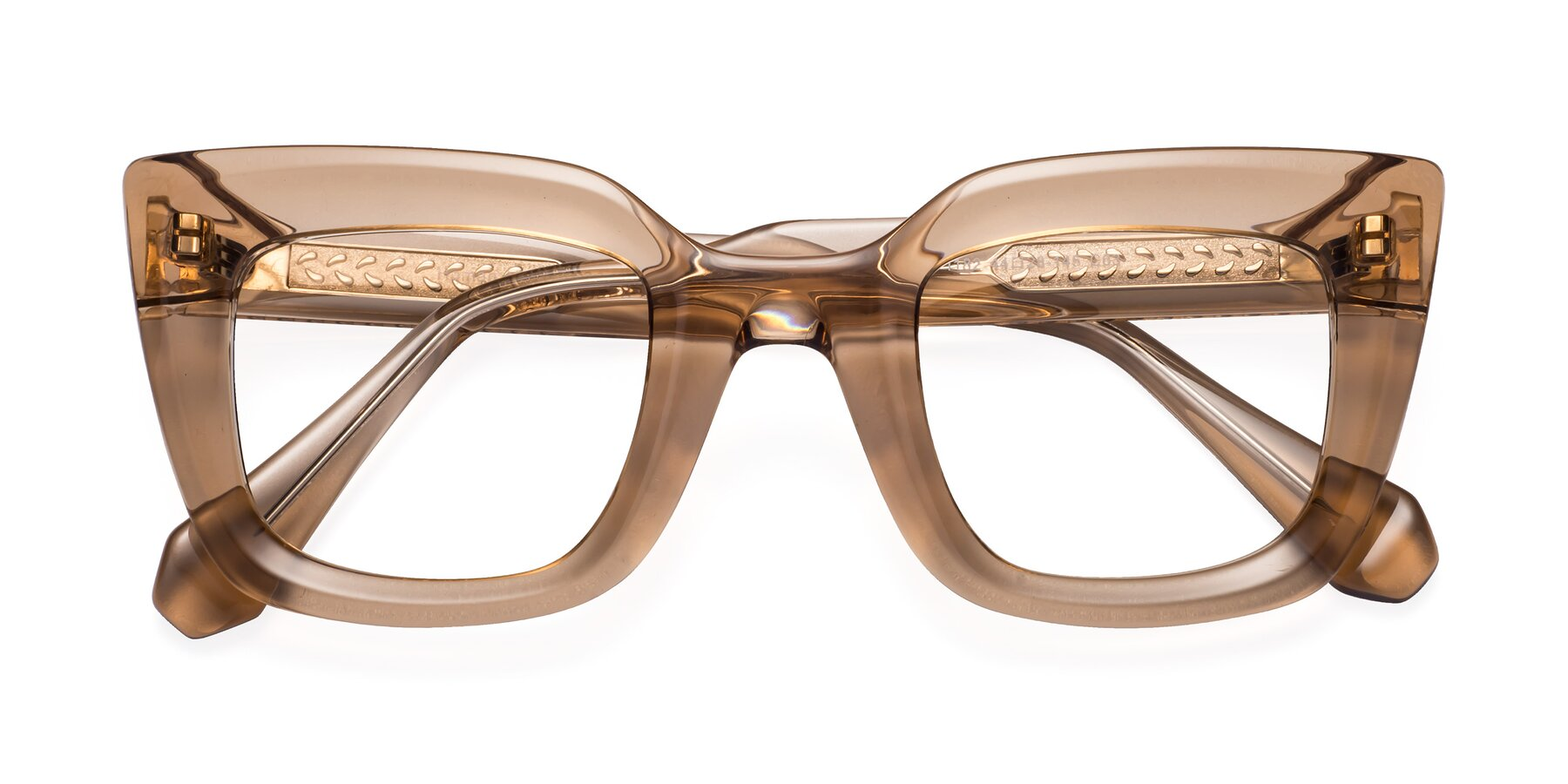 Folded Front of Homan in Amber with Clear Eyeglass Lenses