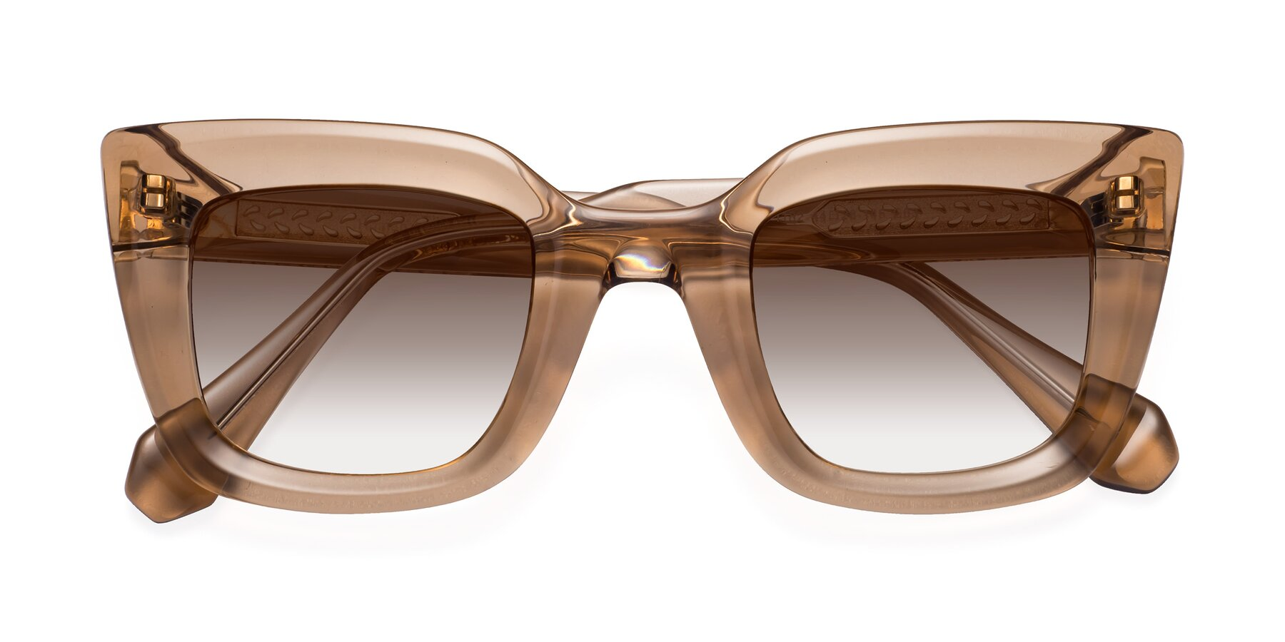 Folded Front of Homan in Amber with Brown Gradient Lenses
