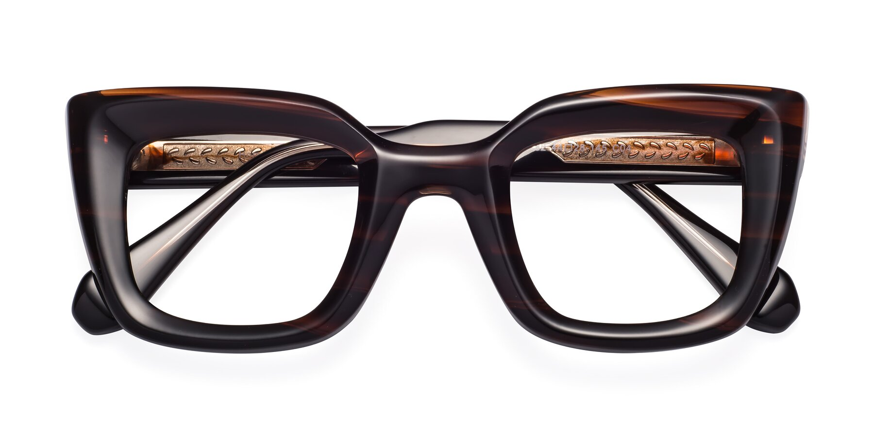 Folded Front of Homan in Dark Brown with Clear Blue Light Blocking Lenses