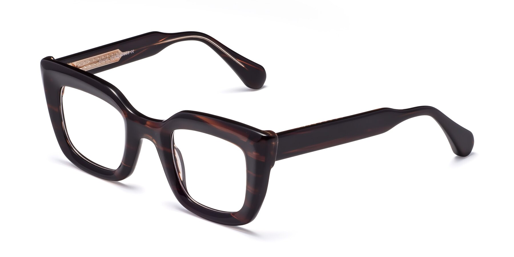 Angle of Homan in Dark Brown with Clear Blue Light Blocking Lenses