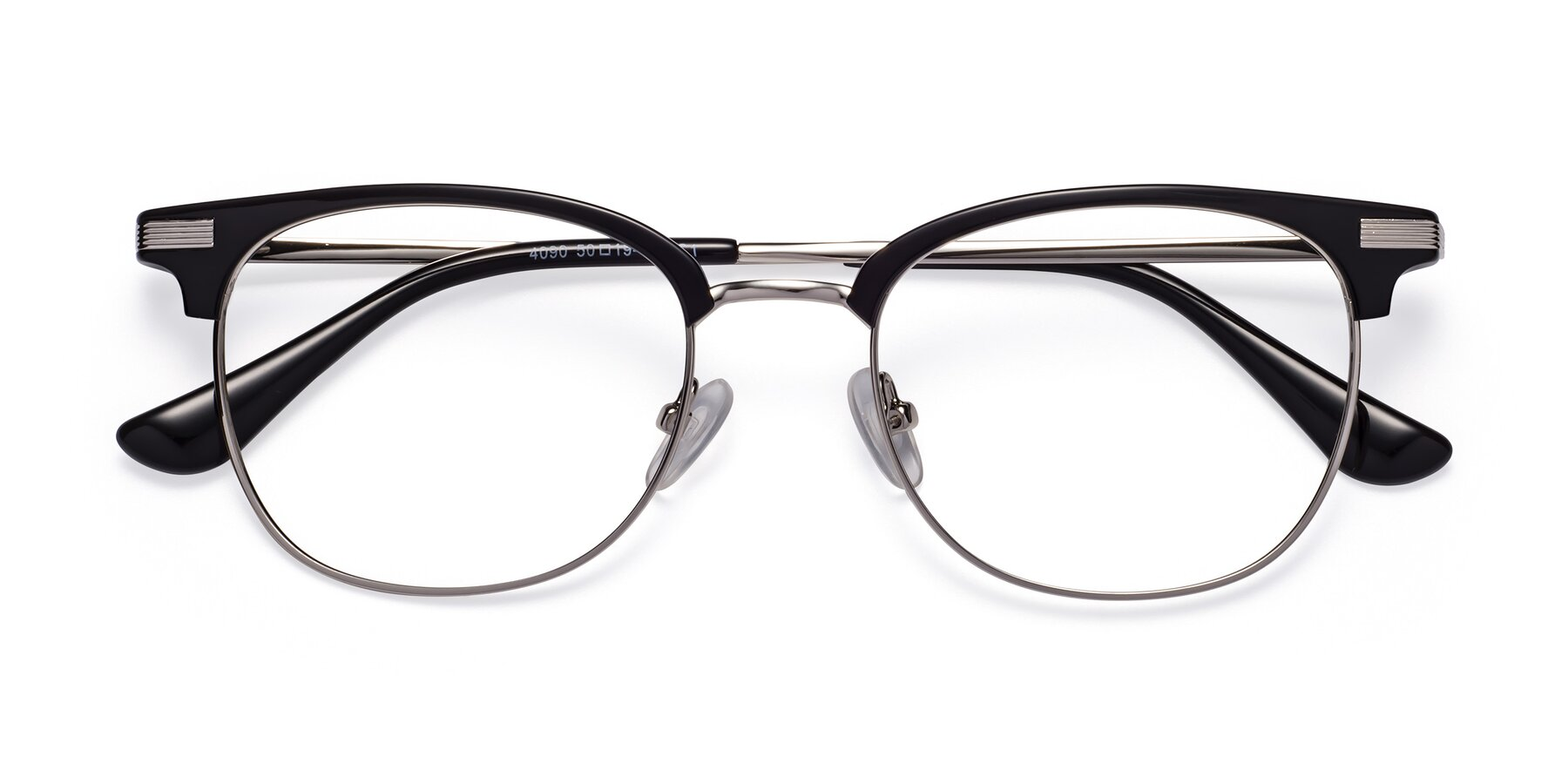 Folded Front of Olson in Black-Silver with Clear Blue Light Blocking Lenses