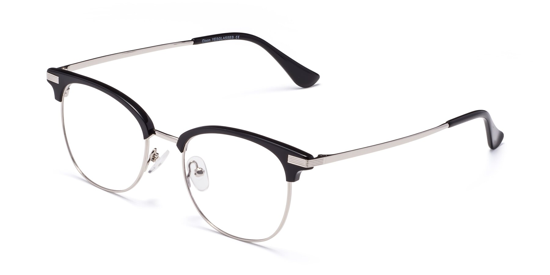Angle of Olson in Black-Silver with Clear Blue Light Blocking Lenses