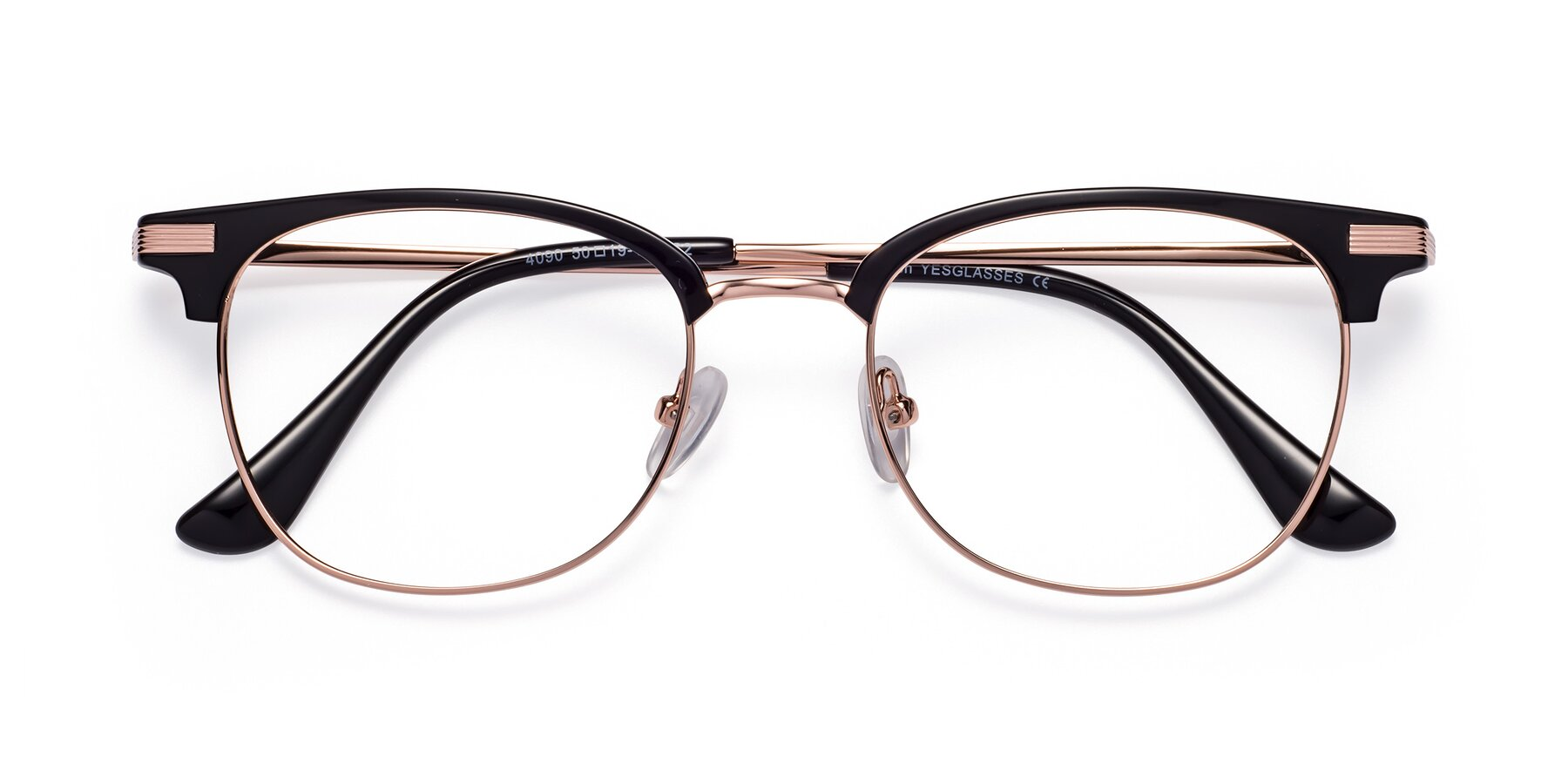Folded Front of Olson in Black-Rose Gold with Clear Eyeglass Lenses