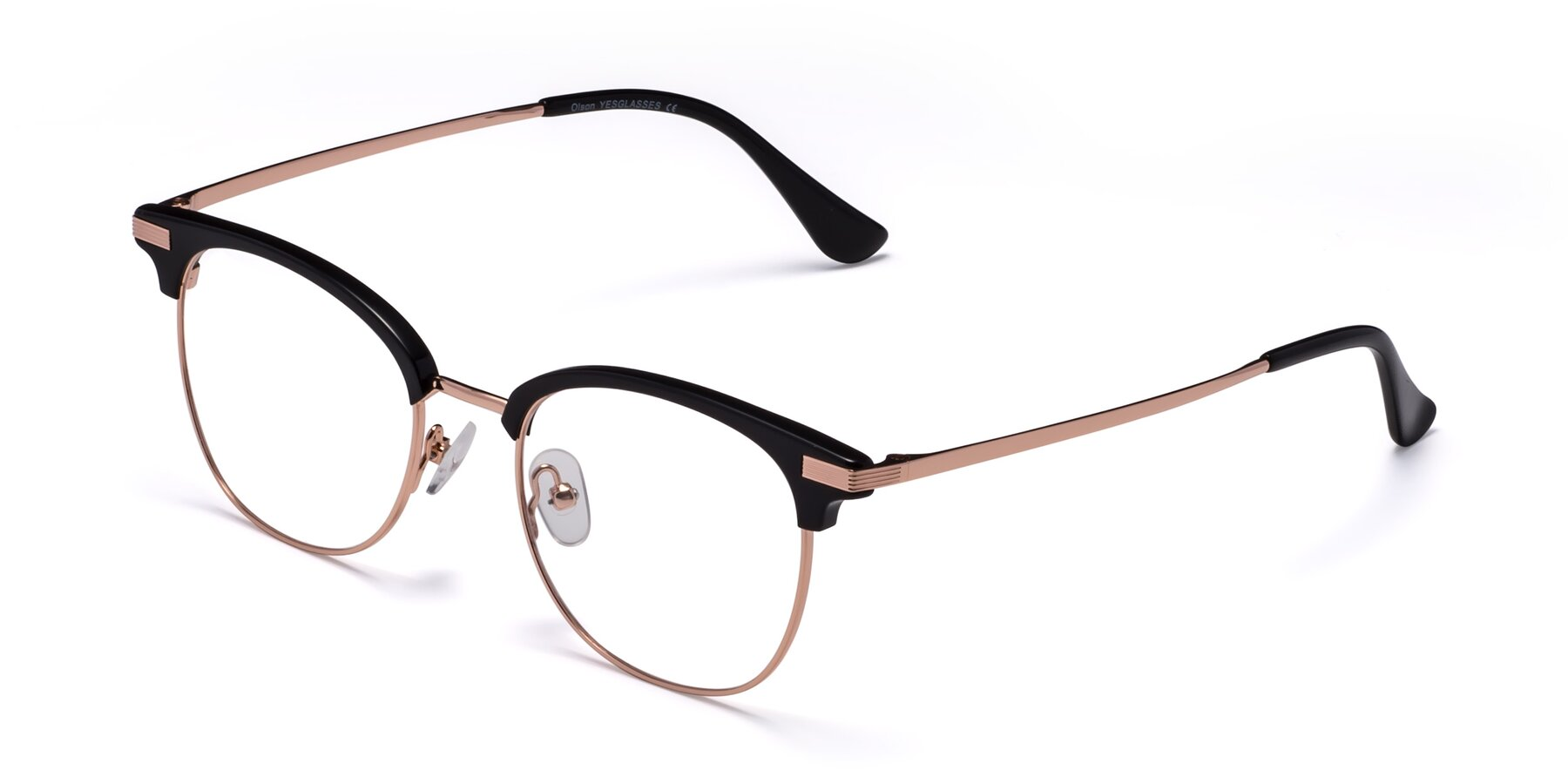 Angle of Olson in Black-Rose Gold with Clear Eyeglass Lenses