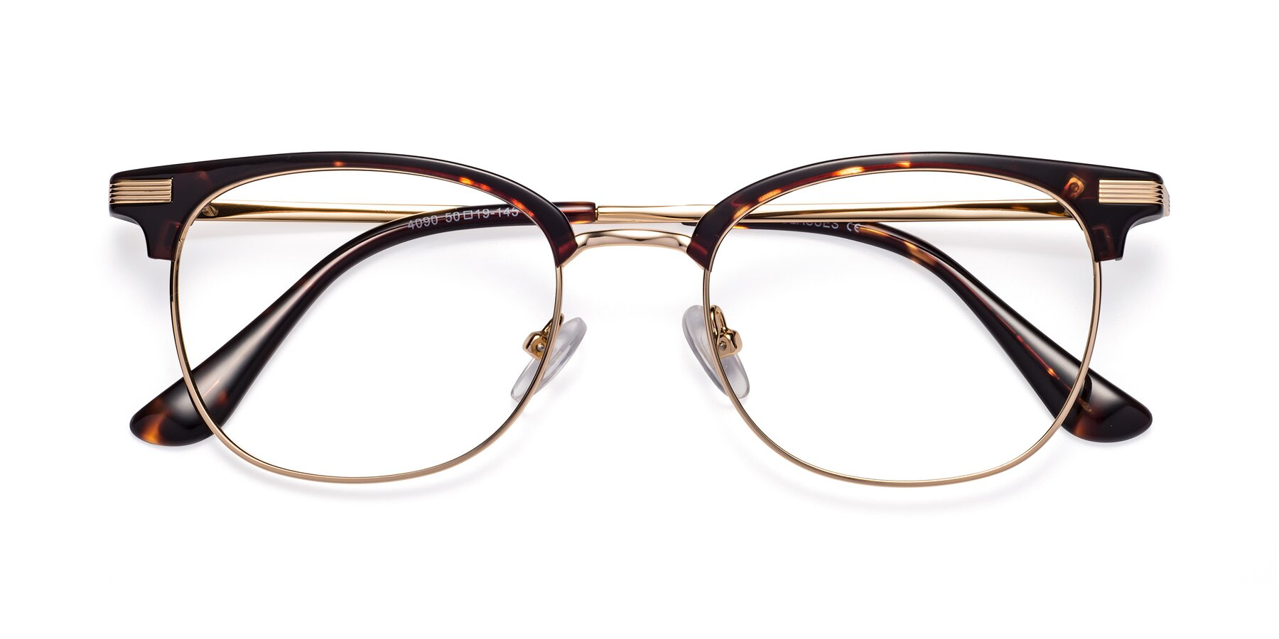 Folded Front of Olson in Tortoise-Gold with Clear Eyeglass Lenses
