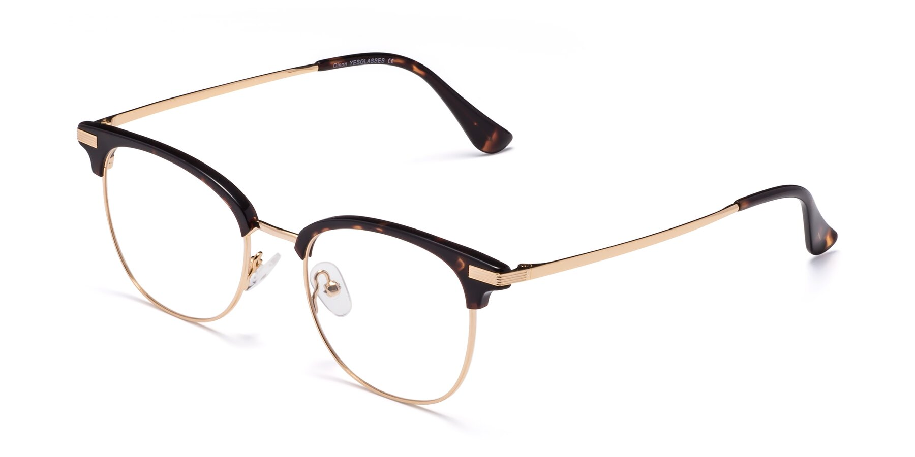 Angle of Olson in Tortoise-Gold with Clear Eyeglass Lenses