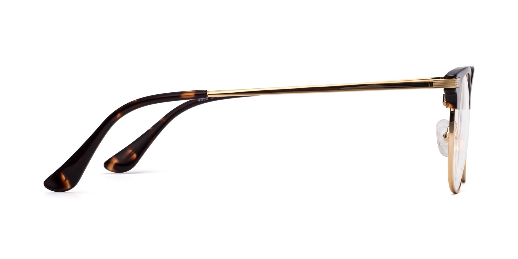 Side of Olson in Tortoise-Gold with Clear Eyeglass Lenses