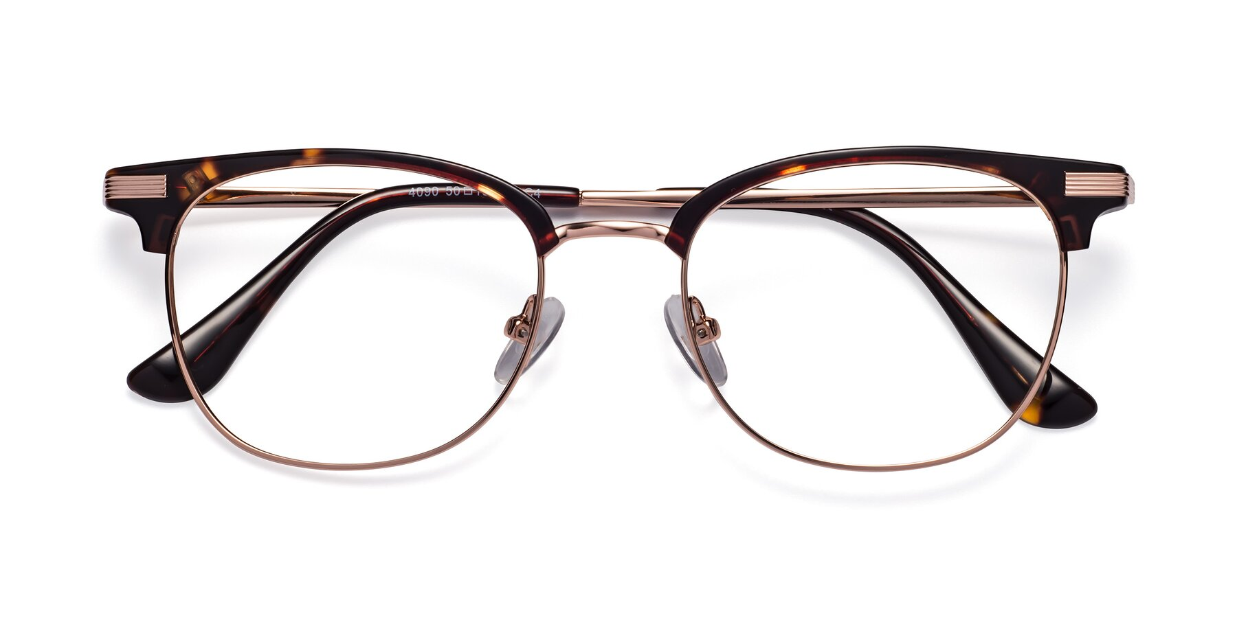 Folded Front of Olson in Tortoise-Rose Gold with Clear Eyeglass Lenses