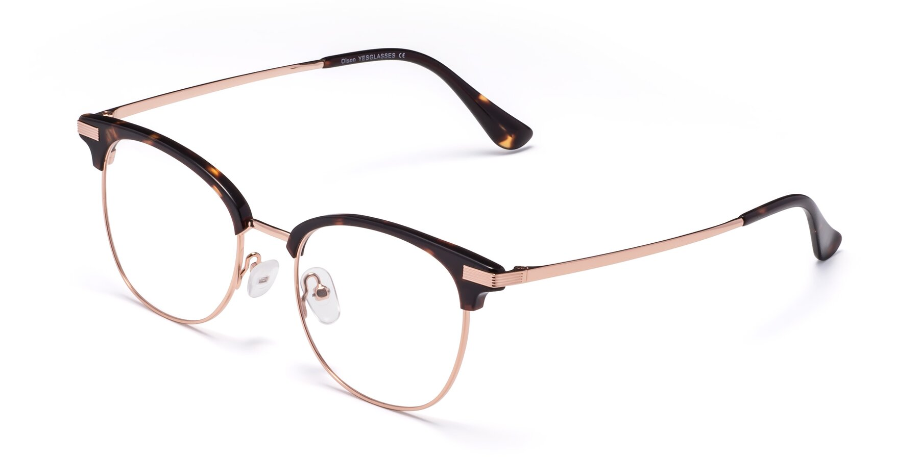 Angle of Olson in Tortoise-Rose Gold with Clear Eyeglass Lenses