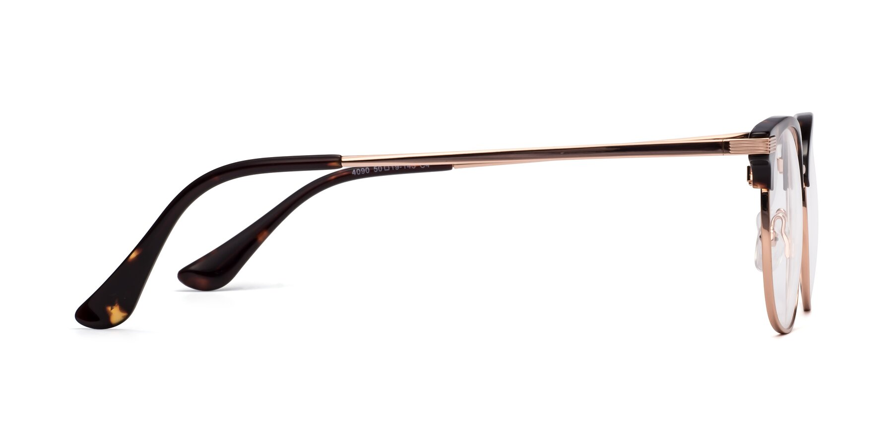 Side of Olson in Tortoise-Rose Gold with Clear Eyeglass Lenses