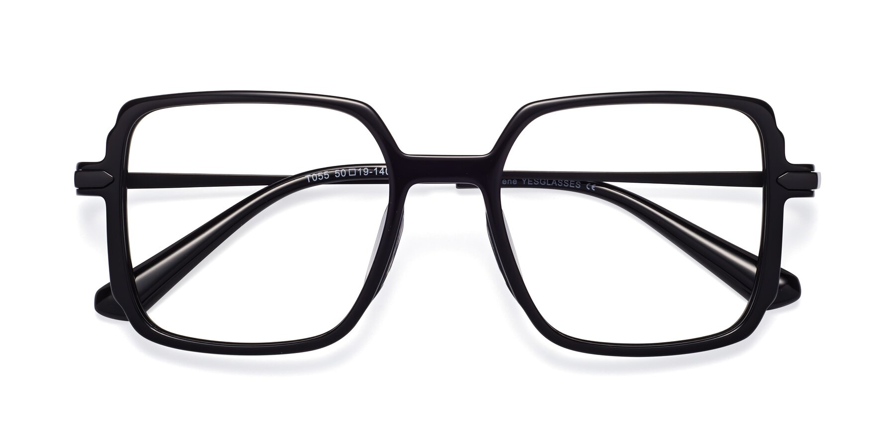 Folded Front of Darlene in Black with Clear Blue Light Blocking Lenses