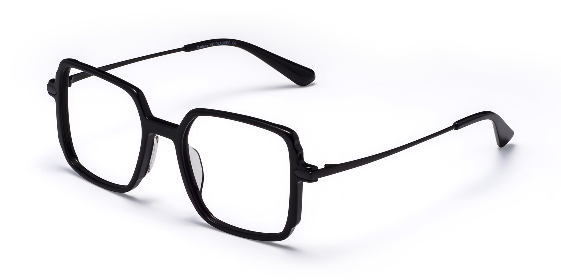 Angle of Darlene in Black with Clear Blue Light Blocking Lenses