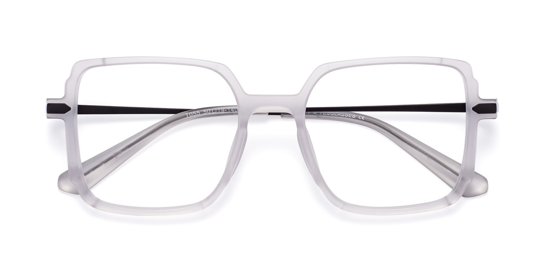 Folded Front of Darlene in White with Clear Blue Light Blocking Lenses