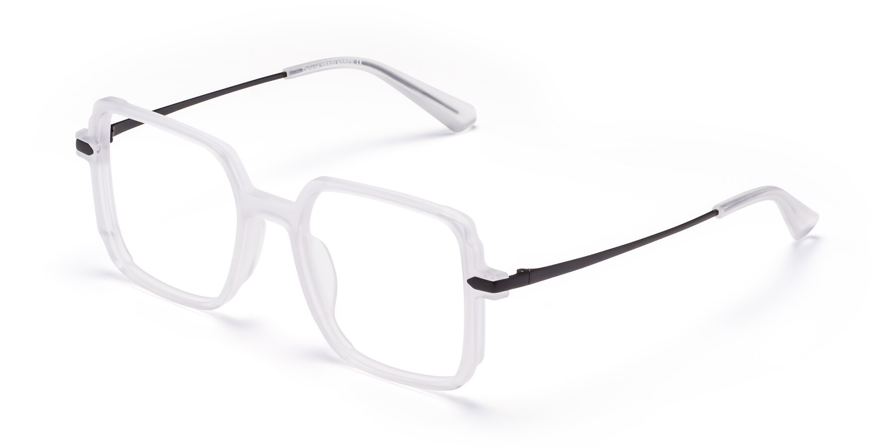 Angle of Darlene in White with Clear Blue Light Blocking Lenses