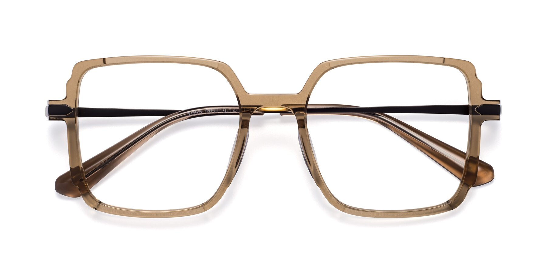 Folded Front of Darlene in Amber with Clear Blue Light Blocking Lenses