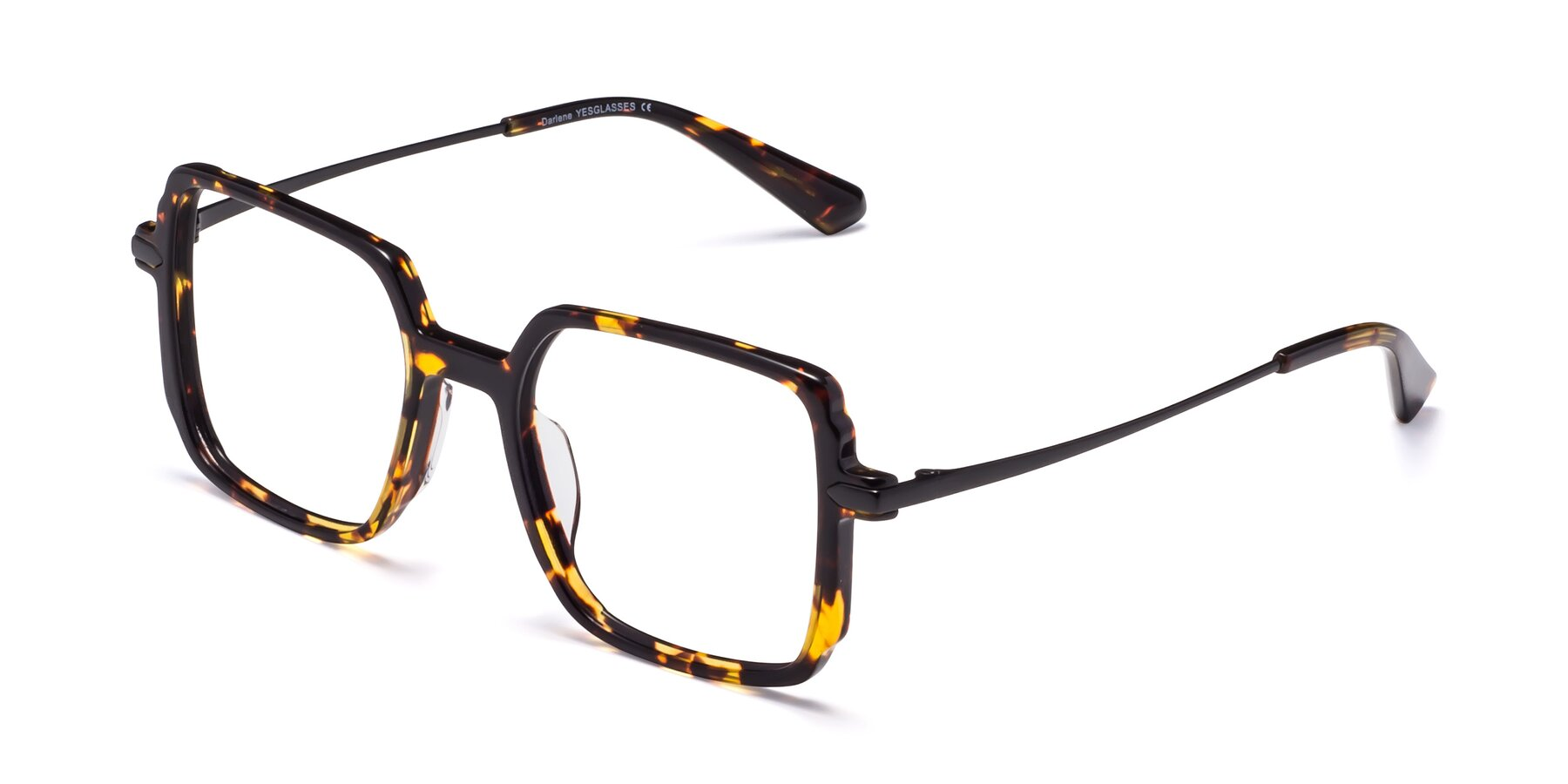 Angle of Darlene in Tortoise with Clear Blue Light Blocking Lenses
