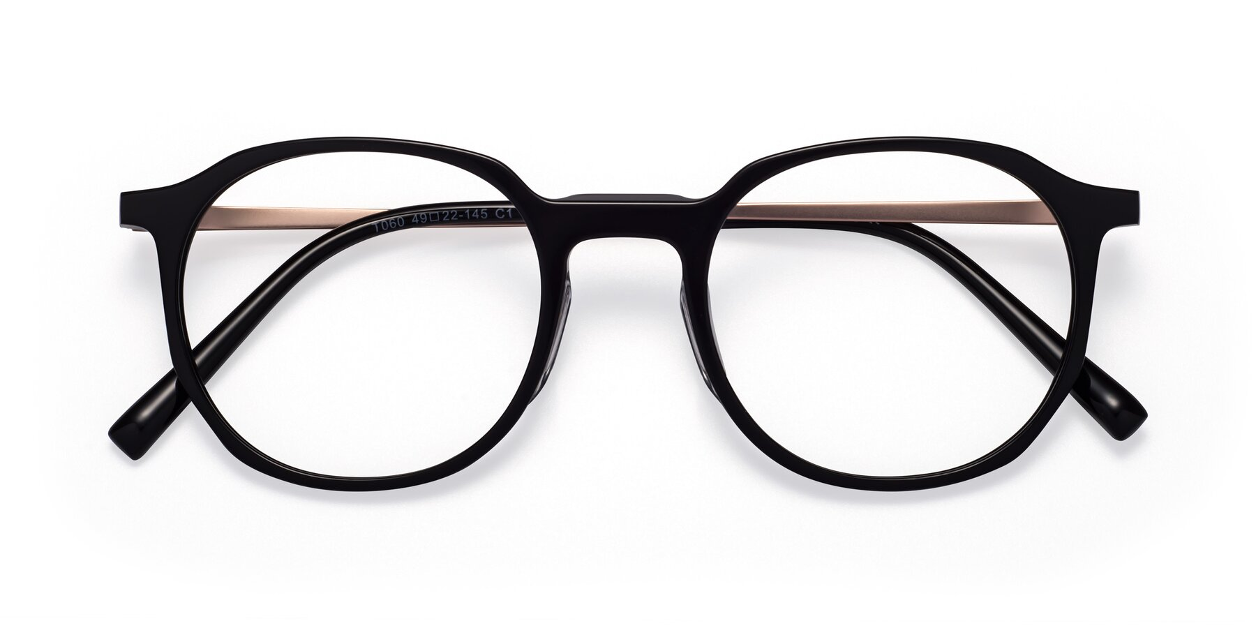 Folded Front of Ammie in Black with Clear Blue Light Blocking Lenses