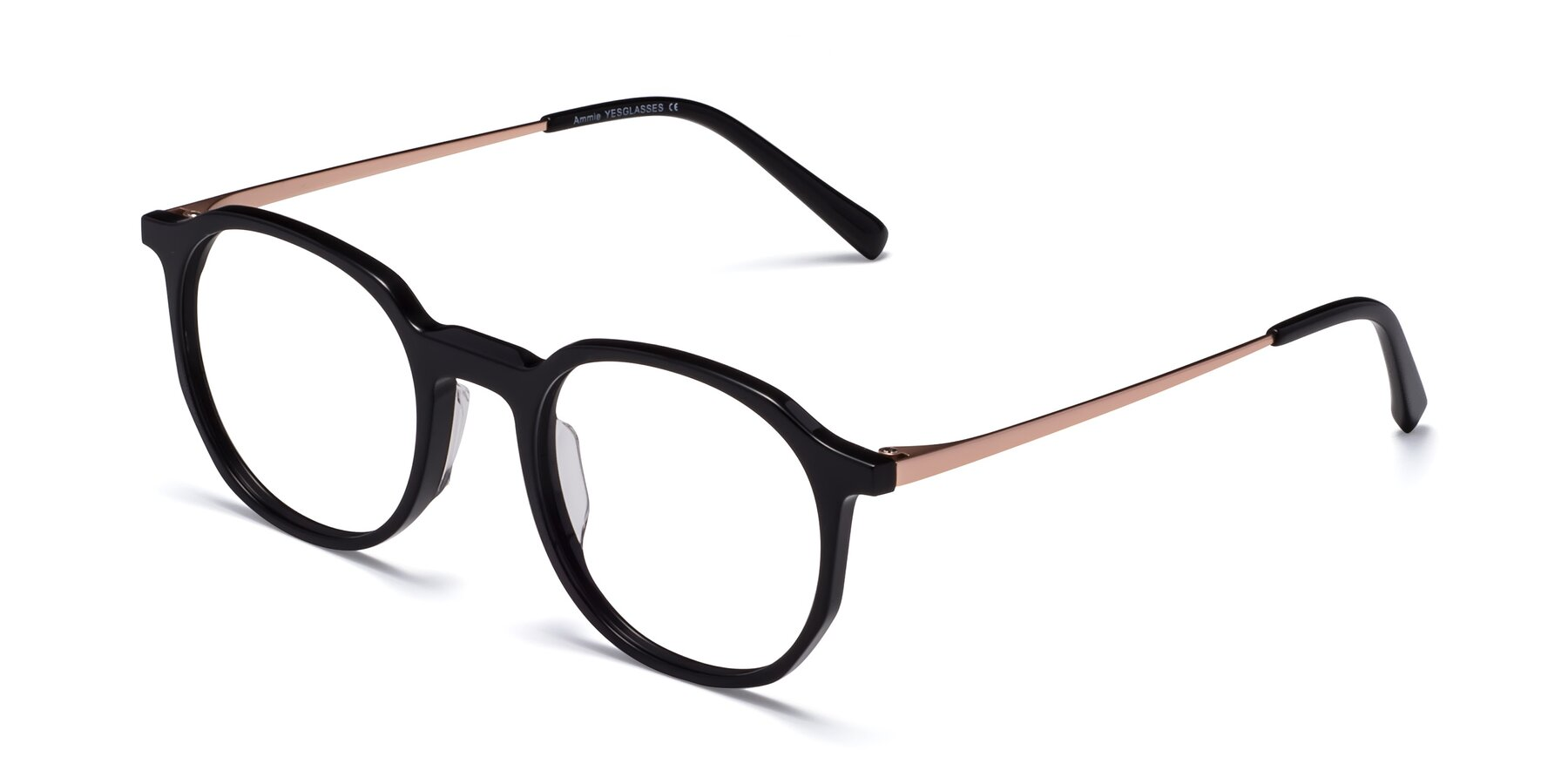 Angle of Ammie in Black with Clear Blue Light Blocking Lenses