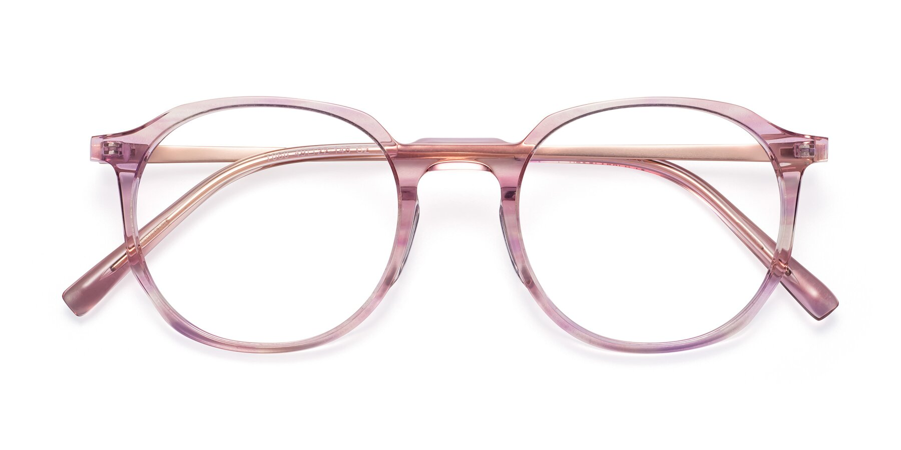 Folded Front of Ammie in Transparent Pink with Clear Blue Light Blocking Lenses
