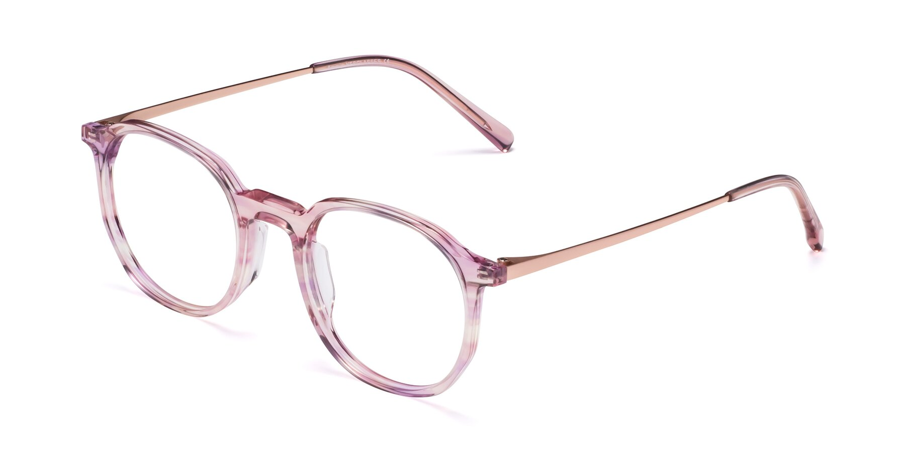 Angle of Ammie in Transparent Pink with Clear Blue Light Blocking Lenses