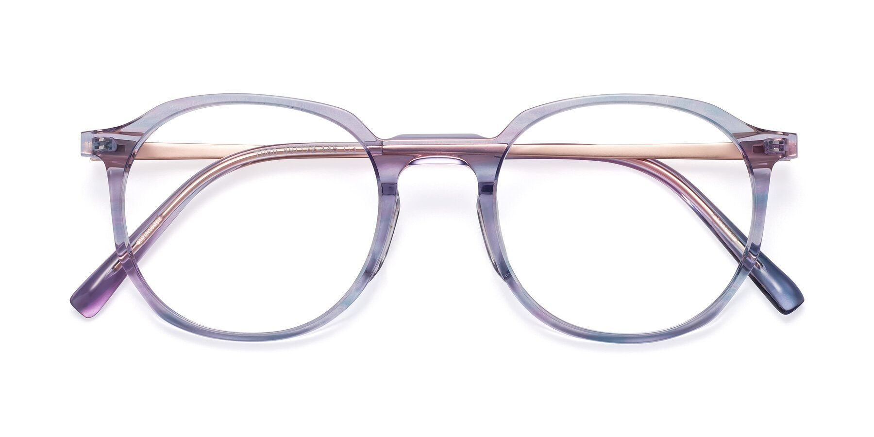 Folded Front of Ammie in Transparent Blue with Clear Blue Light Blocking Lenses