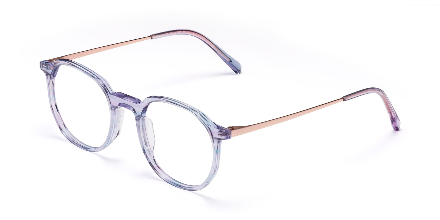 Angle of Ammie in Transparent Blue with Clear Blue Light Blocking Lenses