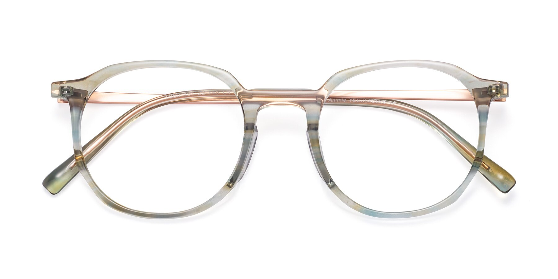 Folded Front of Ammie in Transparent Green with Clear Eyeglass Lenses