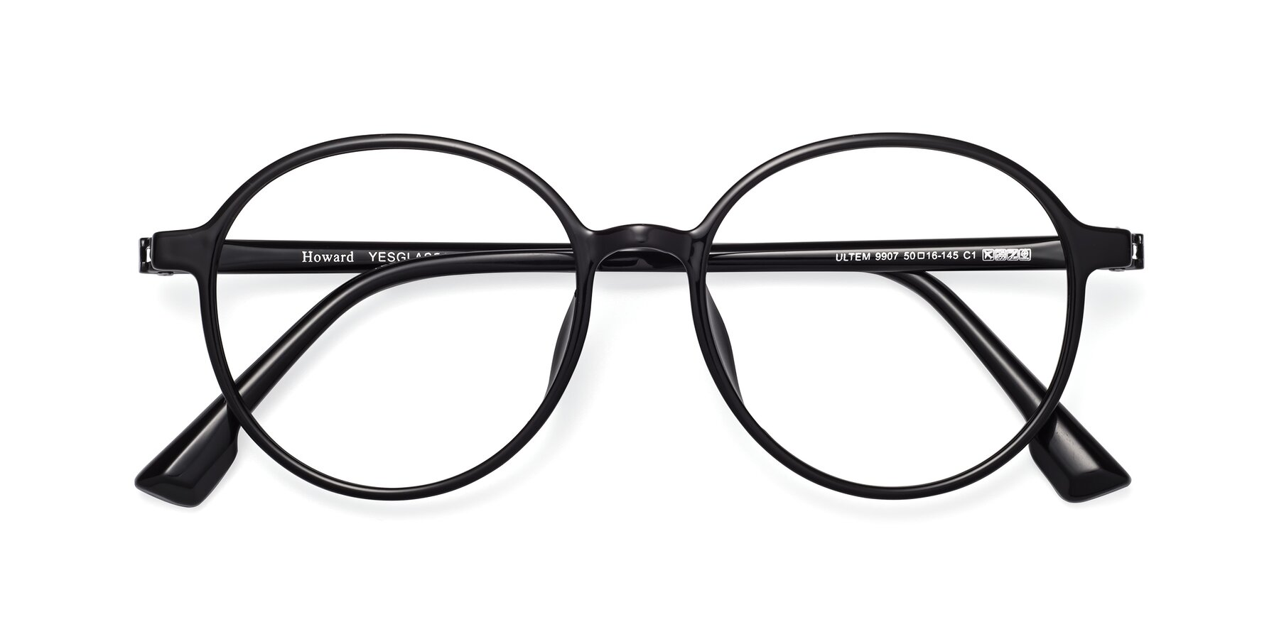 Folded Front of Howard in Black with Clear Blue Light Blocking Lenses