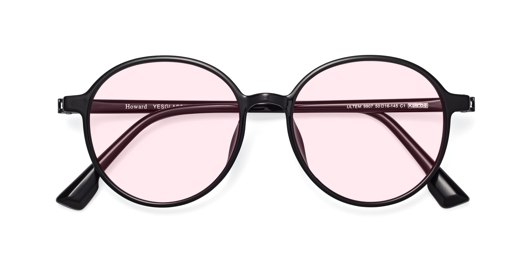 Folded Front of Howard in Black with Light Pink Tinted Lenses