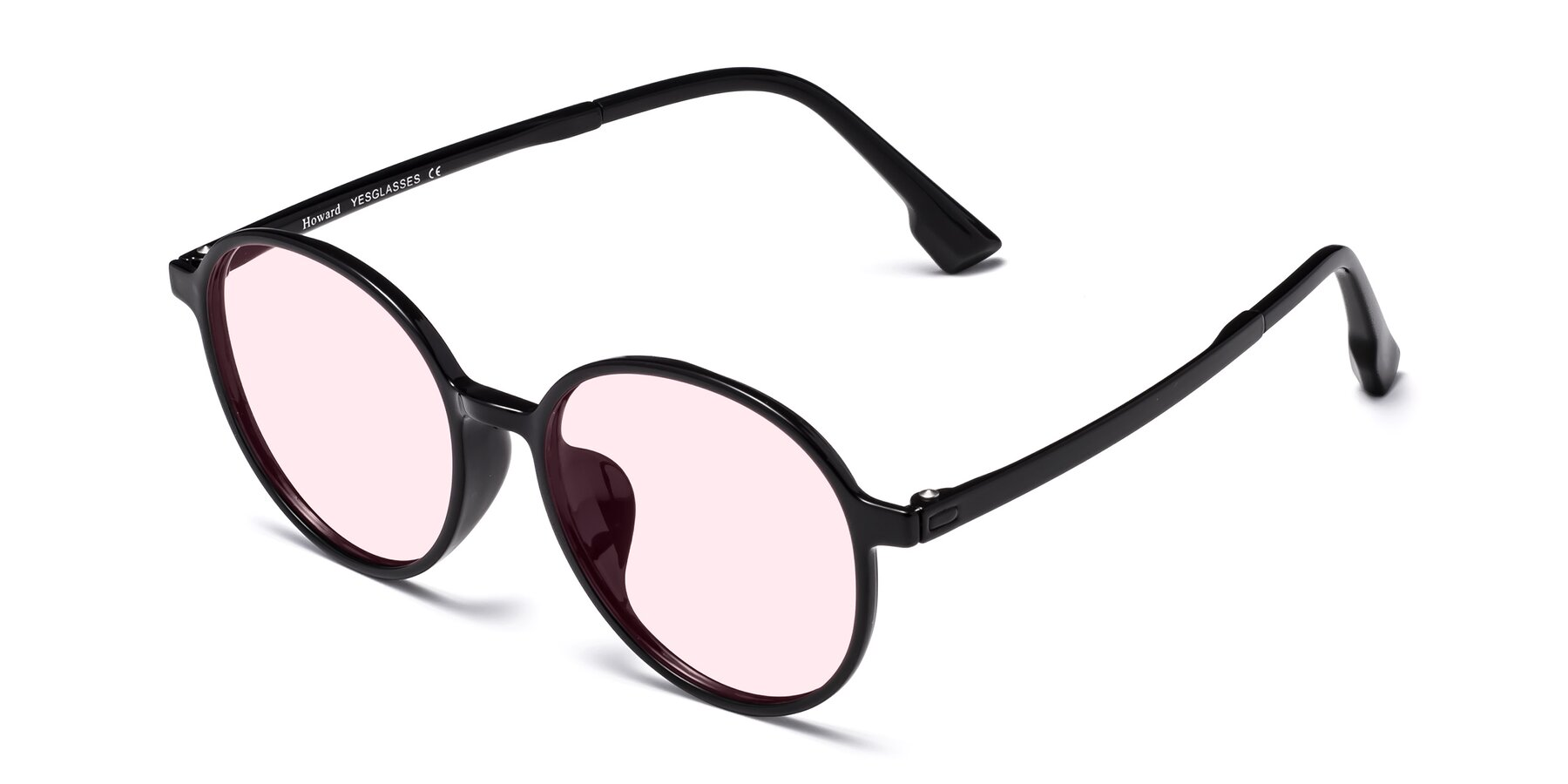 Angle of Howard in Black with Light Pink Tinted Lenses