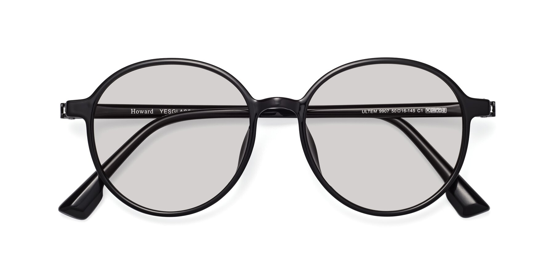 Folded Front of Howard in Black with Light Gray Tinted Lenses