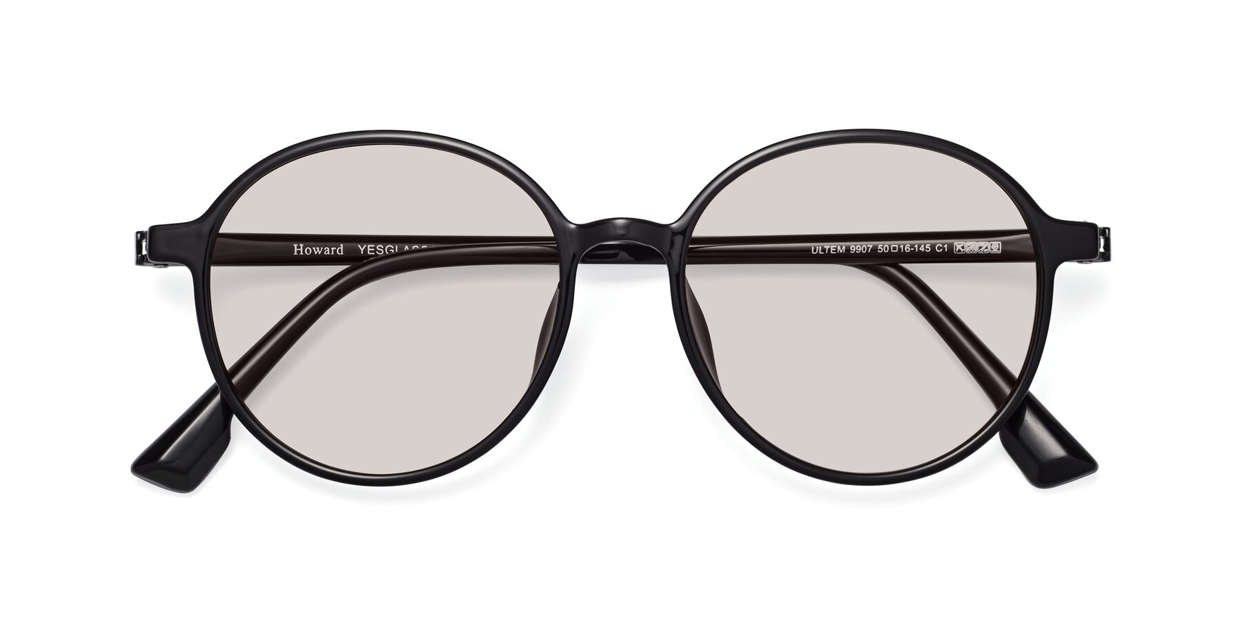 Folded Front of Howard in Black with Light Brown Tinted Lenses