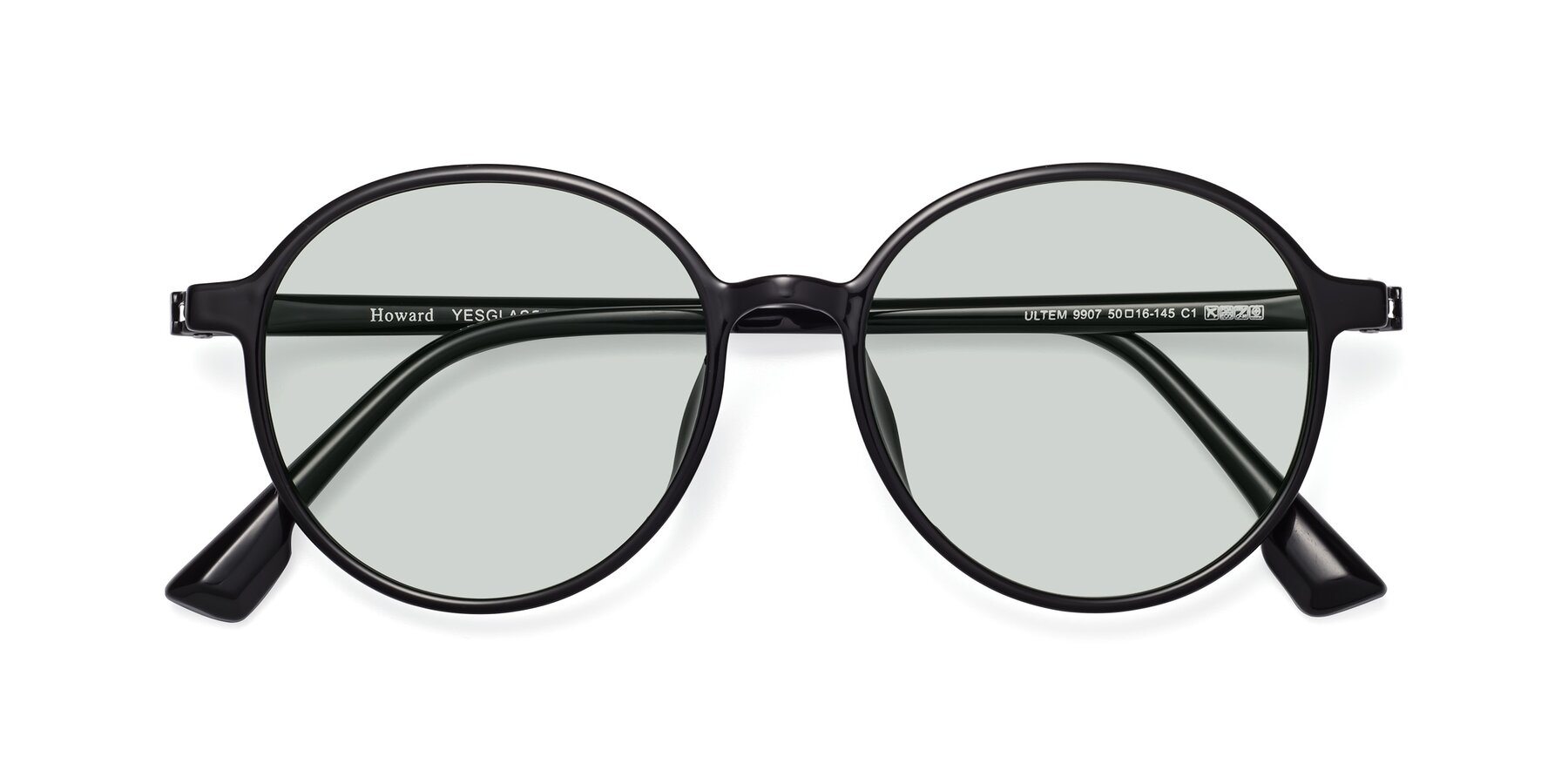 Folded Front of Howard in Black with Light Green Tinted Lenses