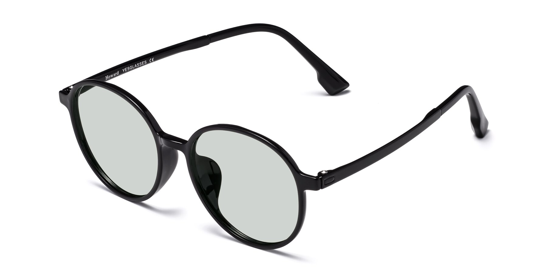 Angle of Howard in Black with Light Green Tinted Lenses