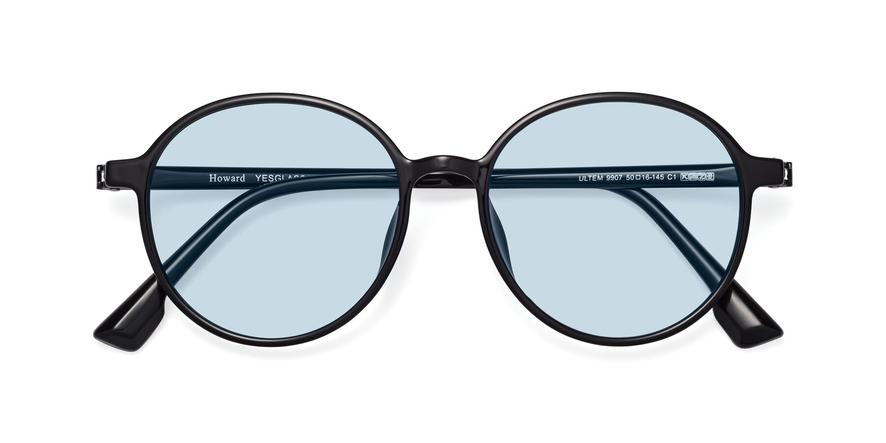 Folded Front of Howard in Black with Light Blue Tinted Lenses