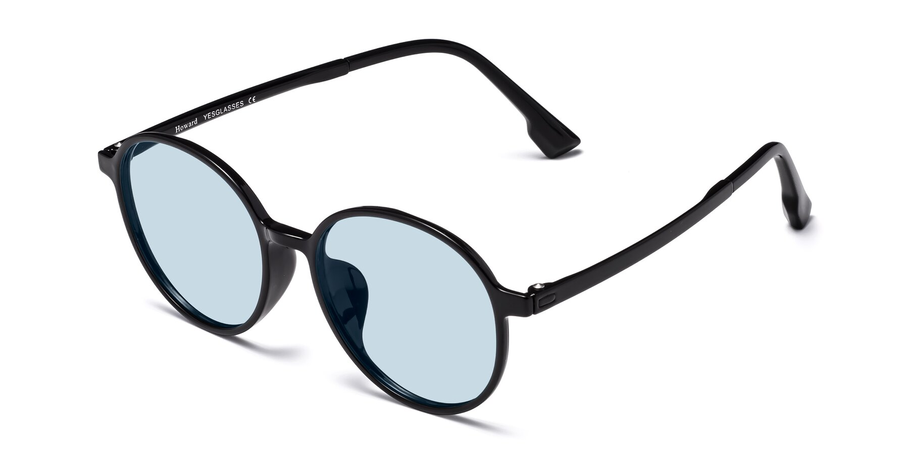 Angle of Howard in Black with Light Blue Tinted Lenses