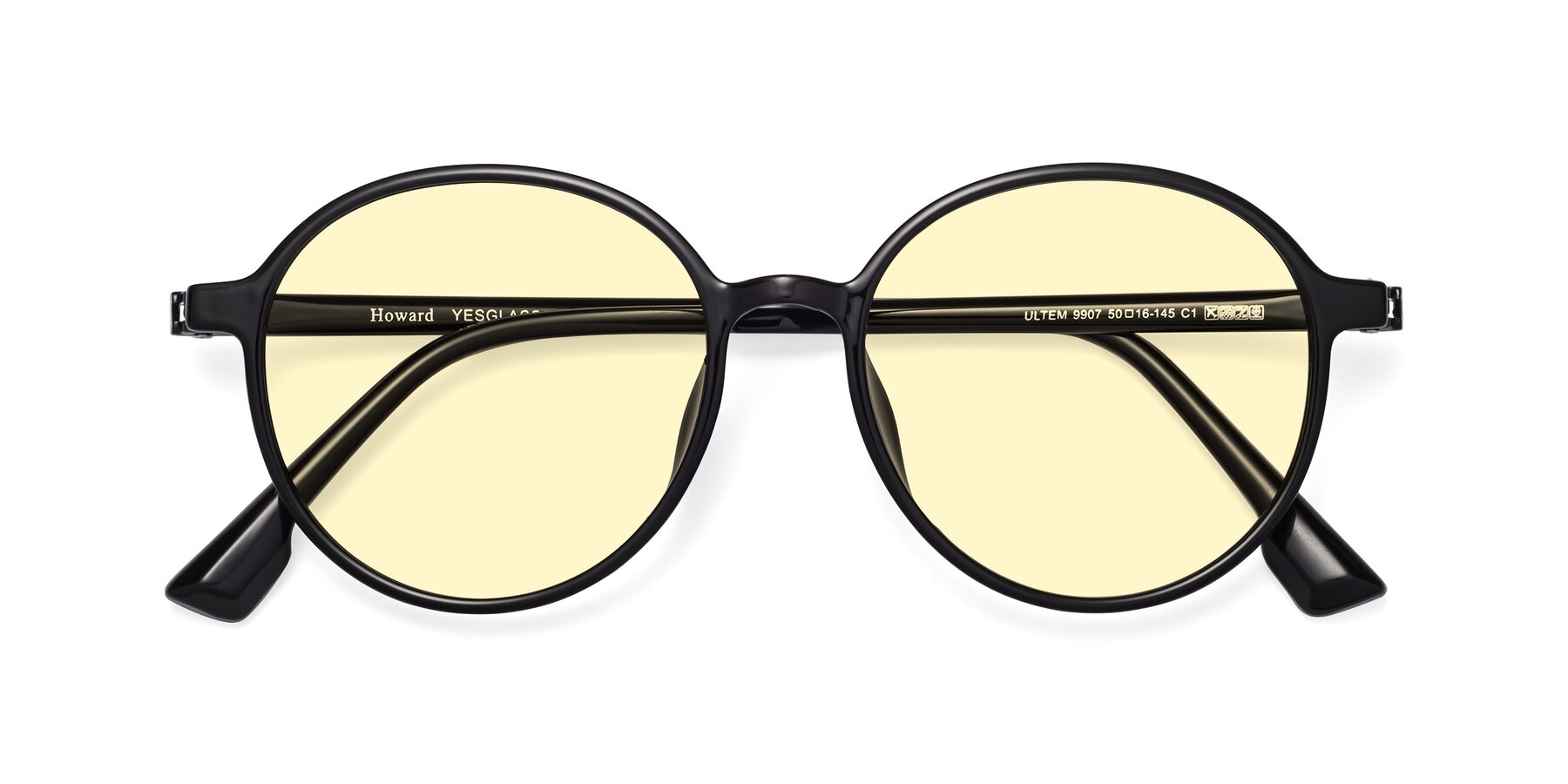Folded Front of Howard in Black with Light Yellow Tinted Lenses