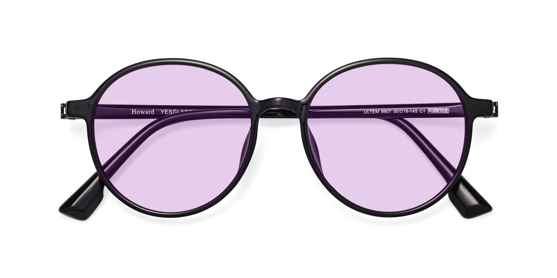 Folded Front of Howard in Black with Light Purple Tinted Lenses