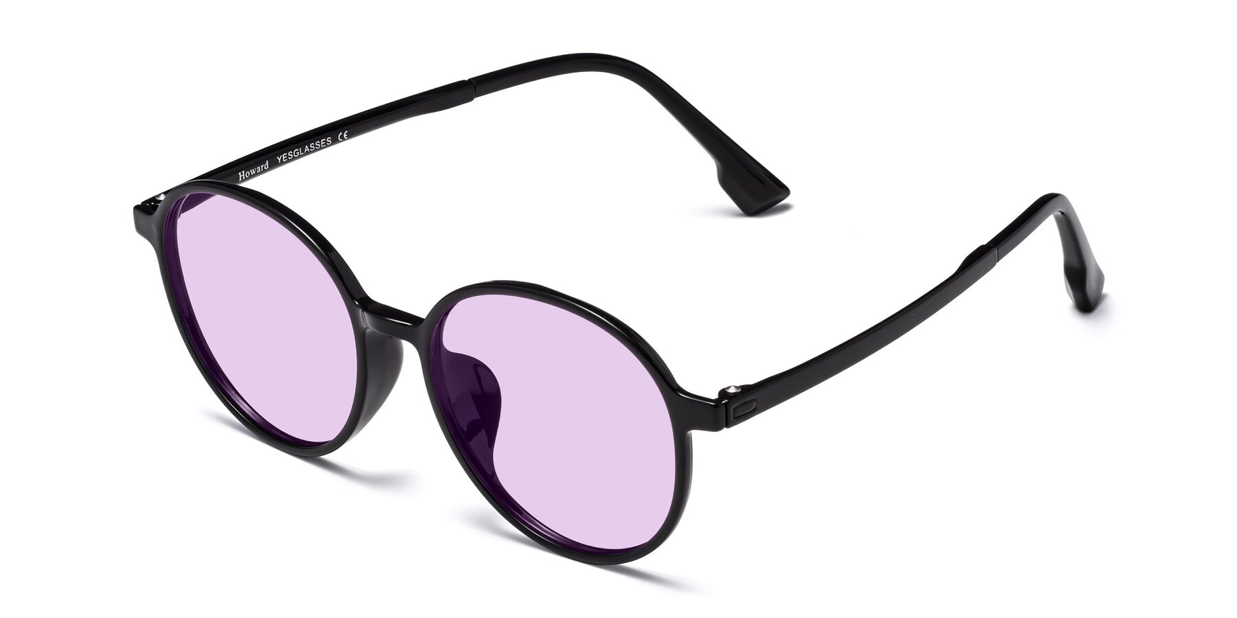 Angle of Howard in Black with Light Purple Tinted Lenses