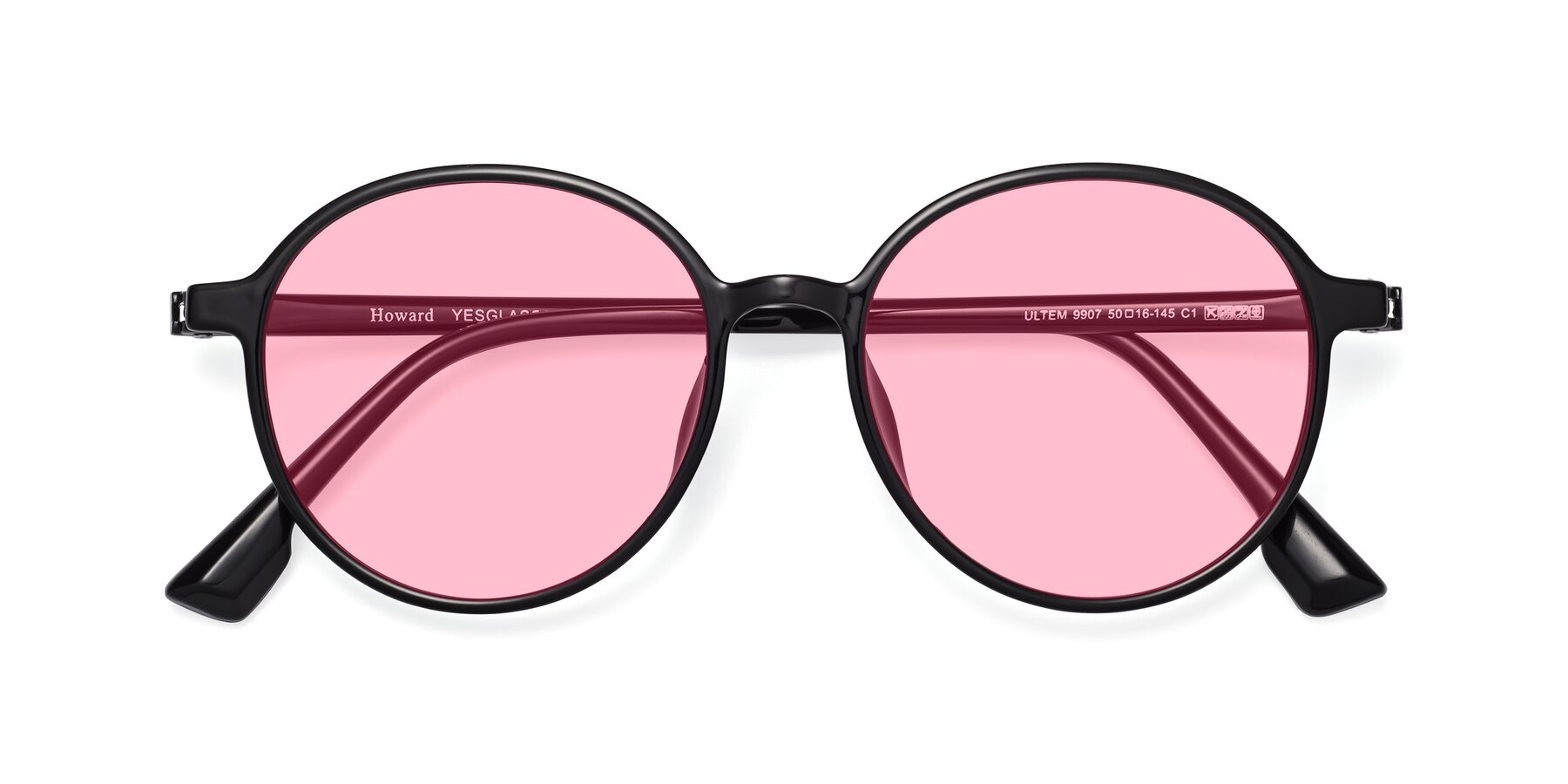 Folded Front of Howard in Black with Medium Pink Tinted Lenses