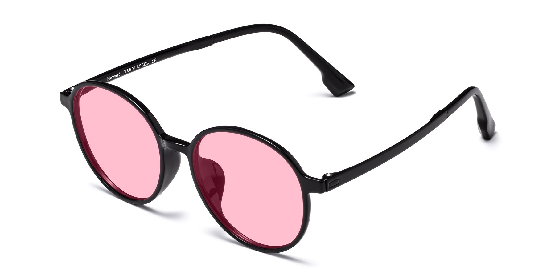 Angle of Howard in Black with Medium Pink Tinted Lenses