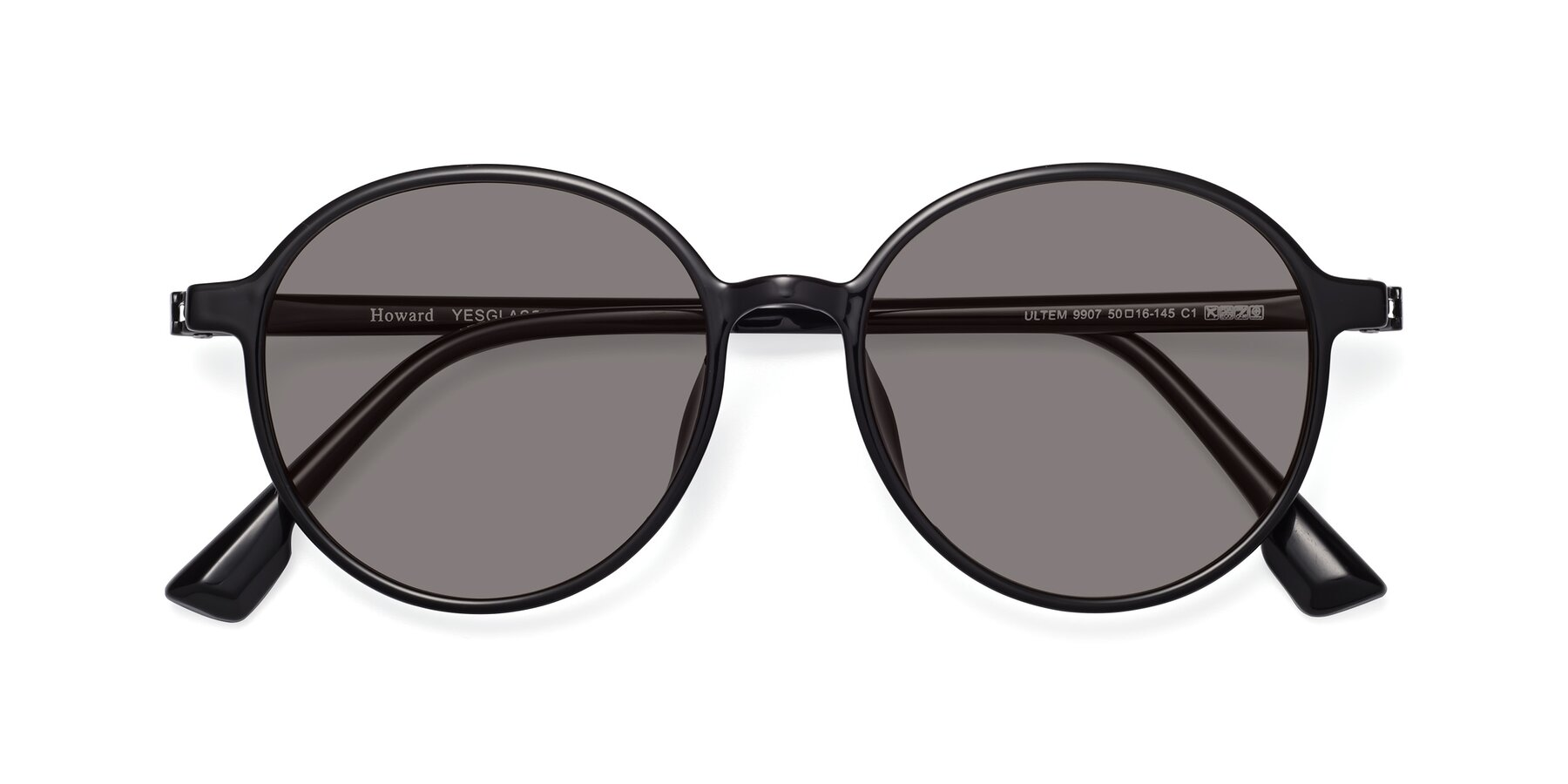 Folded Front of Howard in Black with Medium Gray Tinted Lenses