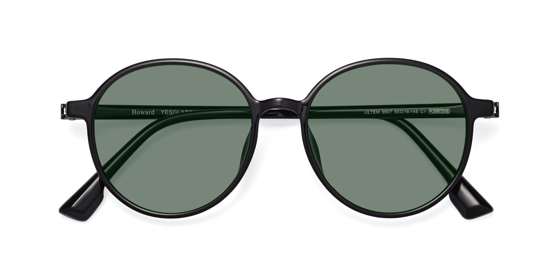 Folded Front of Howard in Black with Medium Green Tinted Lenses