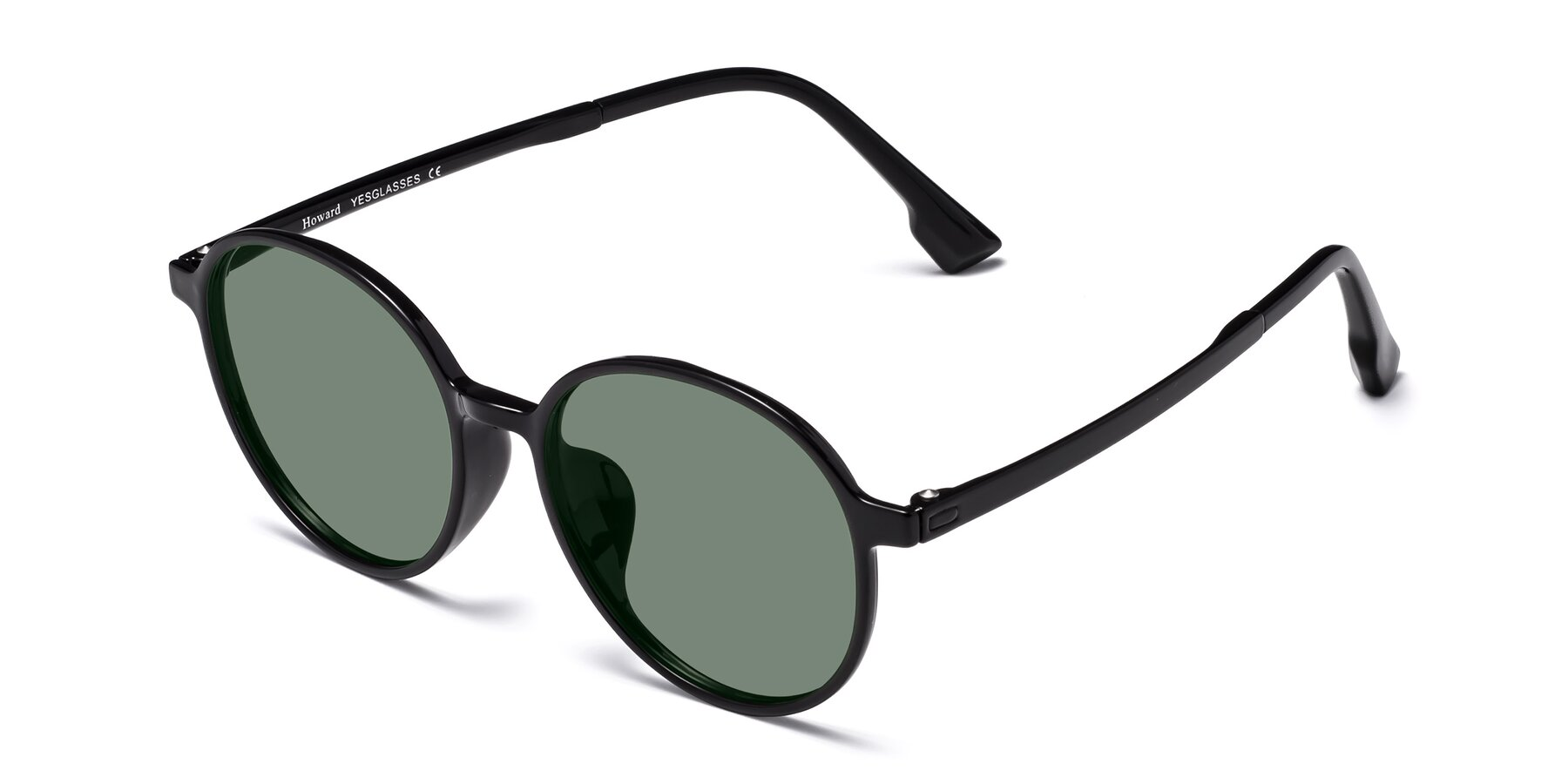 Angle of Howard in Black with Medium Green Tinted Lenses