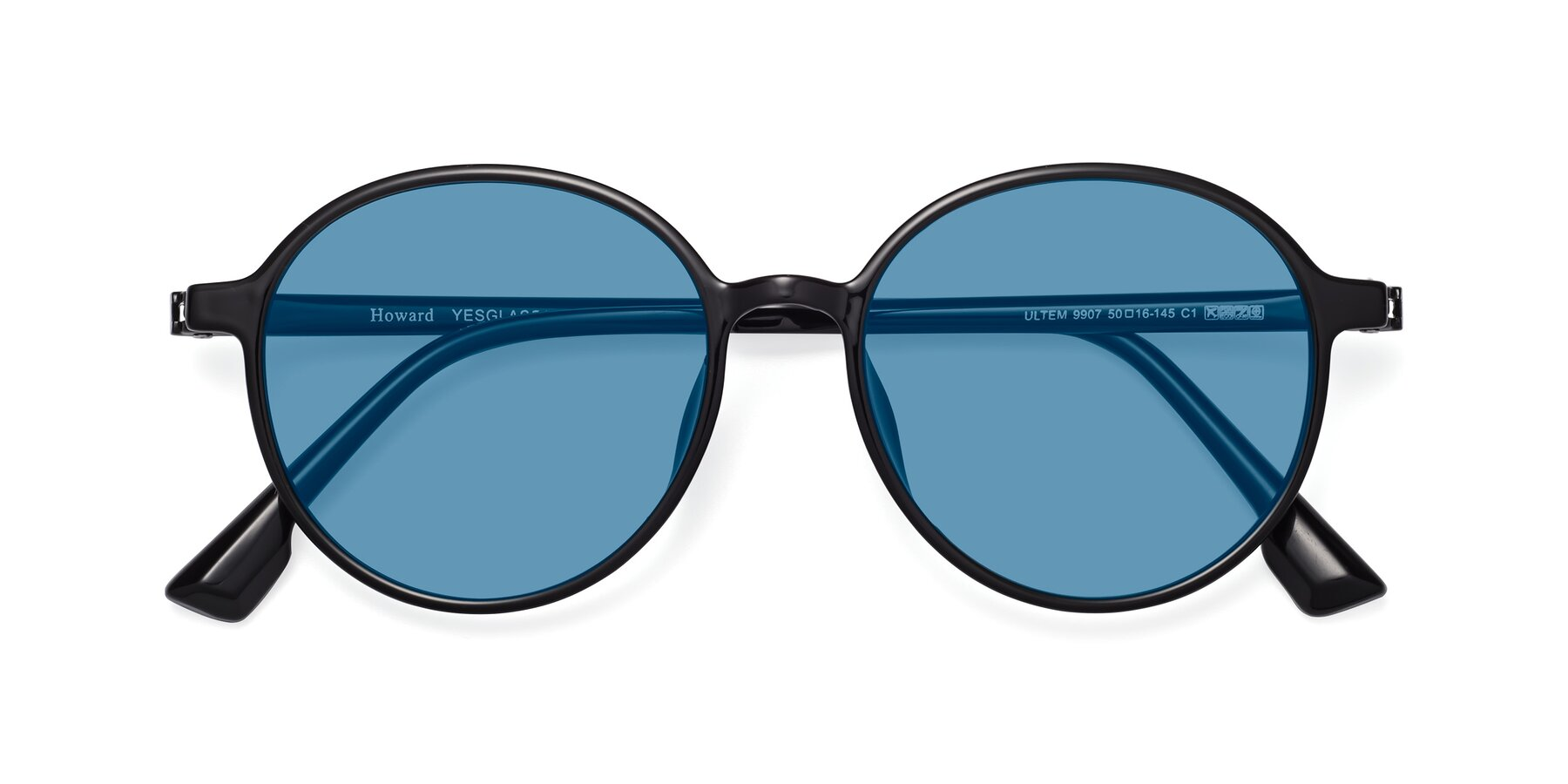 Folded Front of Howard in Black with Medium Blue Tinted Lenses