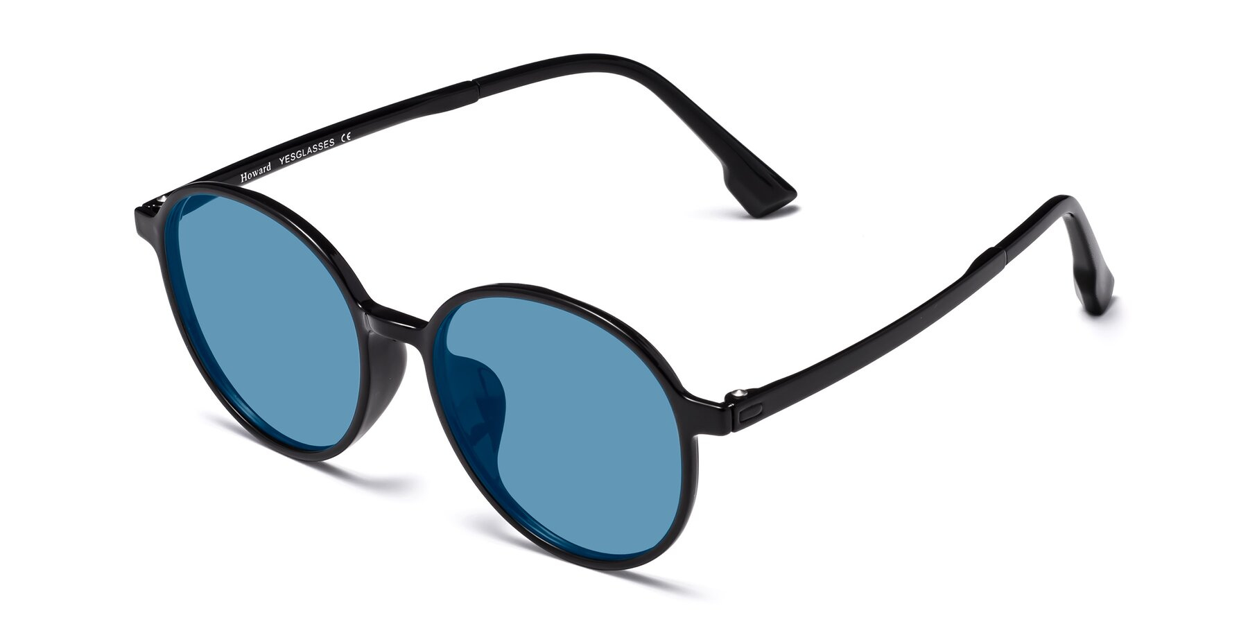 Angle of Howard in Black with Medium Blue Tinted Lenses