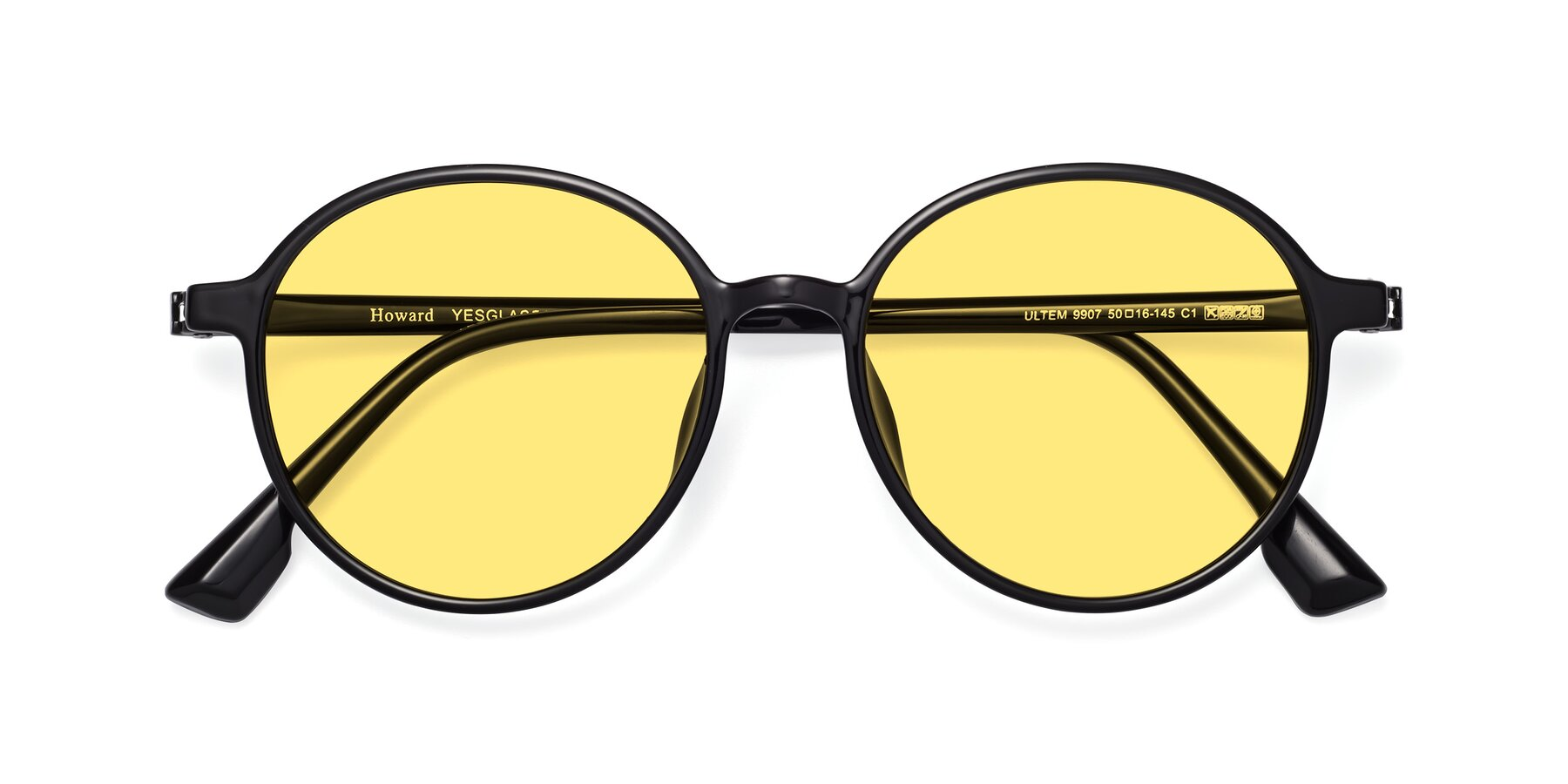 Folded Front of Howard in Black with Medium Yellow Tinted Lenses