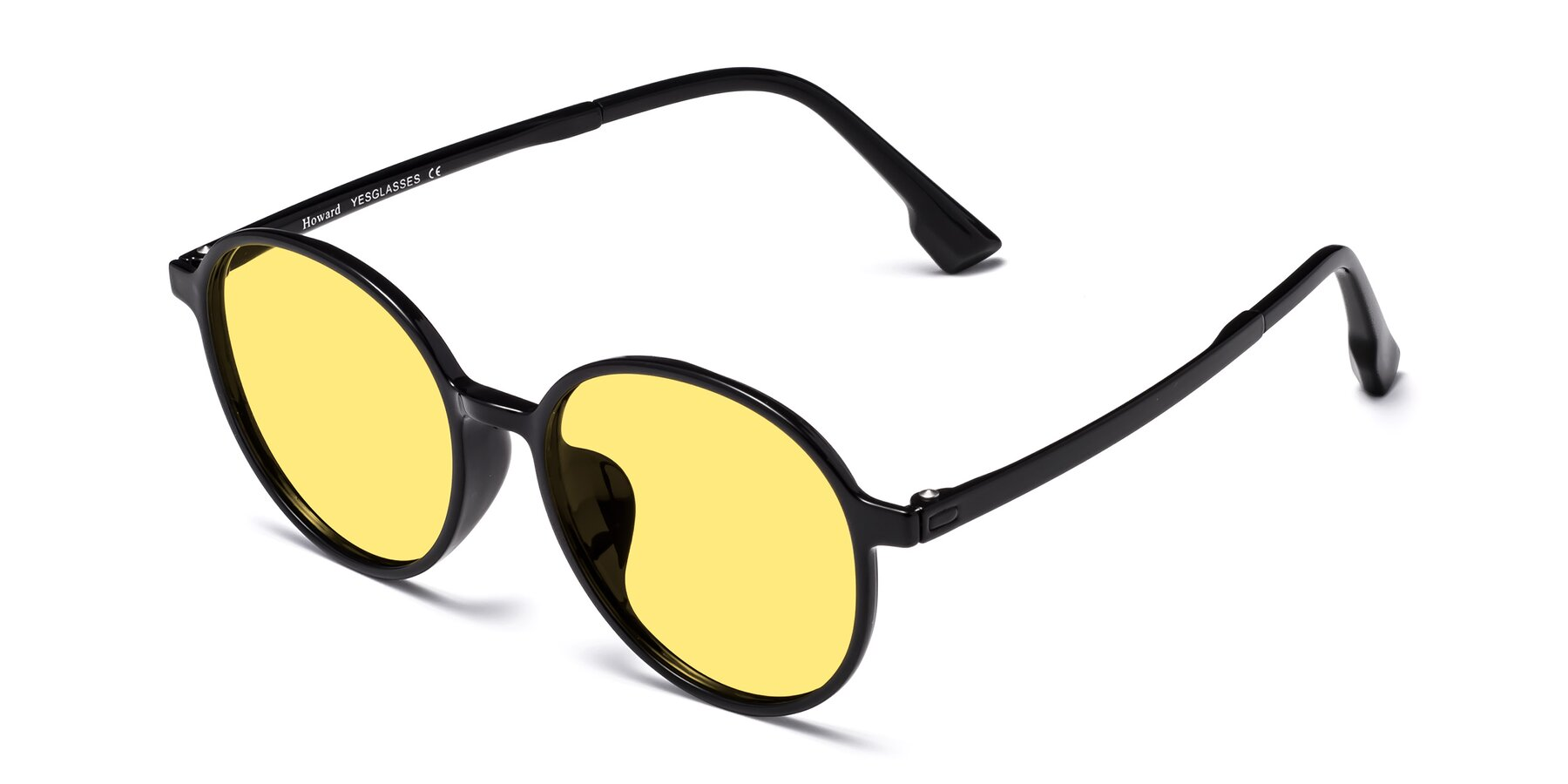 Angle of Howard in Black with Medium Yellow Tinted Lenses