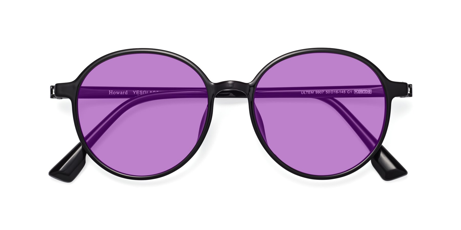 Folded Front of Howard in Black with Medium Purple Tinted Lenses